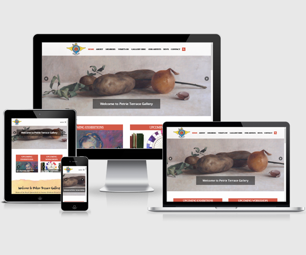 Website design for Petrie Tce Gallery